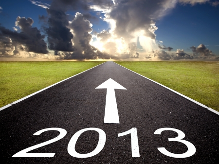 road to the 2013 new year and  sunrise background photo