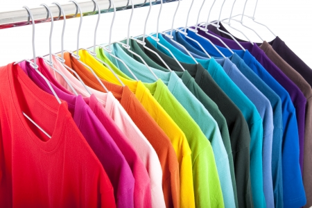clothing rack: Variety of casual shirts on hangers