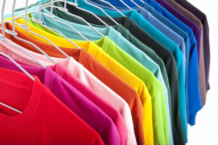 closets: colorful t-shirt isolated on white background