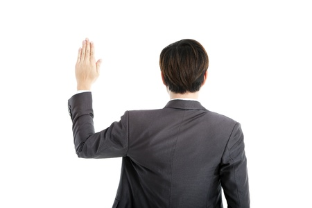 pledge: rear view businessman swearing