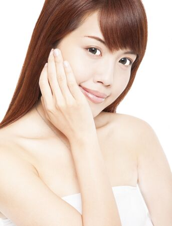 Close up portrait of beautiful asian woman's face with hand Stock Photo - 14824008