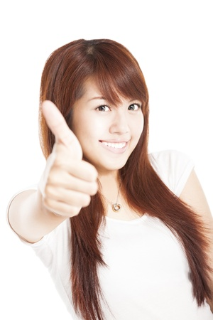 smiling young woman with thumbs up Stock Photo - 15192779