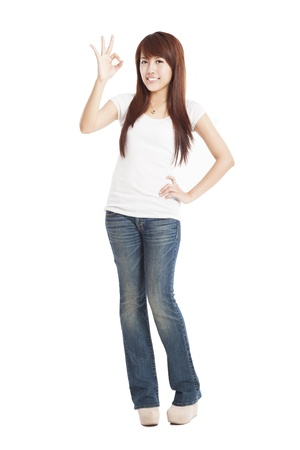 young Woman with ok gesture and standing in full length Stock Photo - 15192770