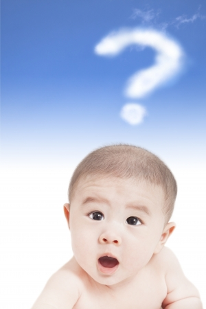 asian baby with question mark cloud photo
