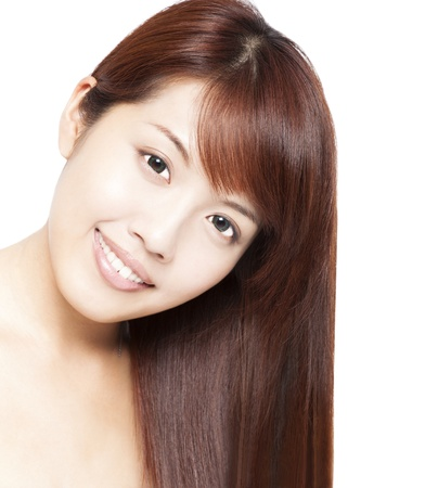 Close up portrait of beautiful asian woman's face and hair Stock Photo - 14959356