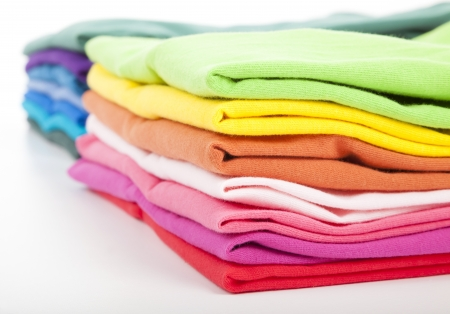 folded clothes: Pile of colorful clothes
