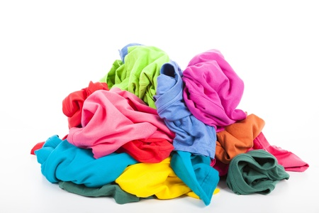 dirty clothes: a pile of colorful clothes
