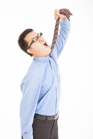 depression businessman tighten the tie photo