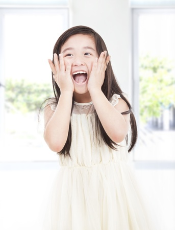 surprised beautiful asian little girl photo