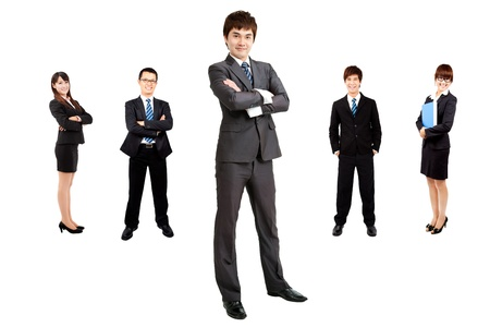 smart asian businessman with business team photo
