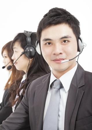 call center agent: sorridente uomo d'affari con l'agente di call center