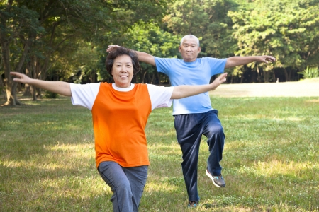 relaxation exercise: happy asian senior couple in the park Stock Photo