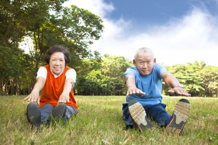 lifestyle asian: happy Senior couple in the park