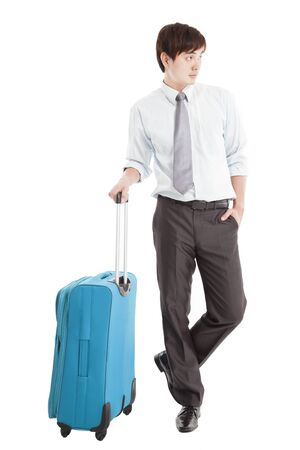 Businessman with suitcase and isolated on white photo