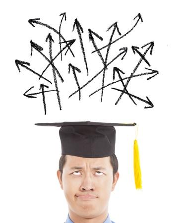 licenciatura: graduado confuso mirando muchos distinto signo flecha de direcci�n