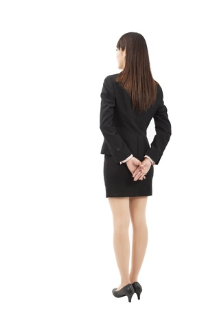 woman behind: young businesswoman back view Stock Photo