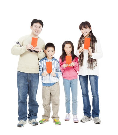 happy chinese new year. happy chinese family holding red envelope for lucky photo