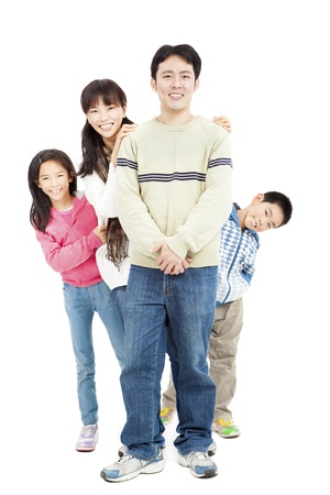 full length of happy asian family isolated on white Stock Photo - 17081939