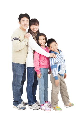 four person: full length of happy asian family