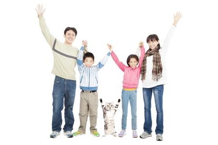 happy family with pet Stock Photo - 17126938