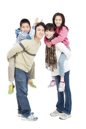 full length of happy asian family isolated on white photo