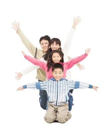 happy family rising hand Stock Photo - 17167115