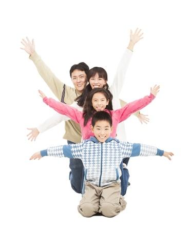 happy family rising hand Stock Photo - 17167115