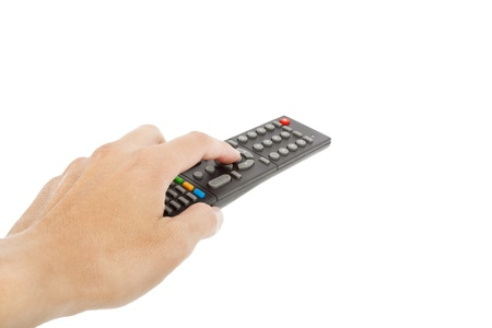 hand with remote control isolated on white photo