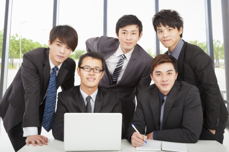 young business team working in the office photo