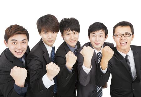 성공 제스처와 함께 행복 한 아시아 비즈니스 팀