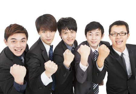 happy asian business team with success gesture photo