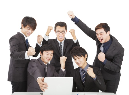 happy young business team  in the office Stock Photo - 17567696
