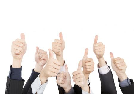grupos de personas: Gente de negocios con los pulgares para arriba aislados en el fondo blanco