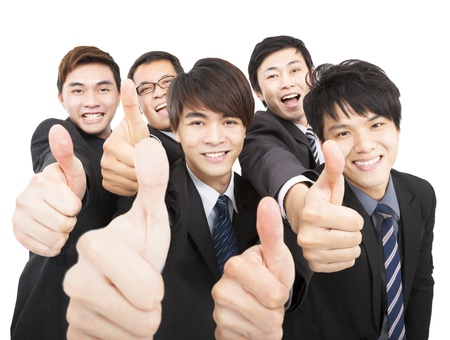 success business team with thumbs up  photo