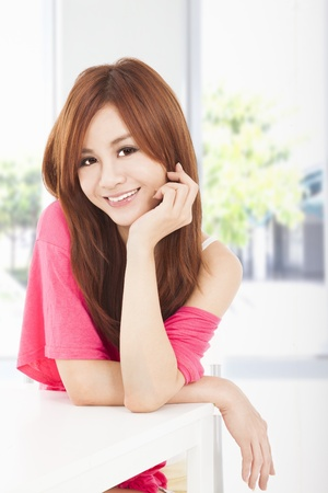 young asian girl: smiling young beautiful woman