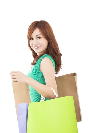 asian shopper: smiling young woman with shopping bags Stock Photo