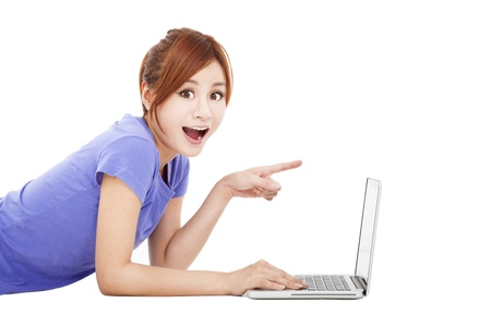 amazed:  surprised young woman with laptop Stock Photo