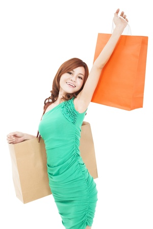 smiling young woman holding shopping bag Stock Photo - 17850439