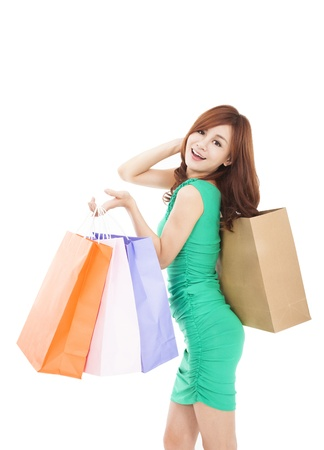 happy young  woman holding shopping bag Stock Photo - 17850443