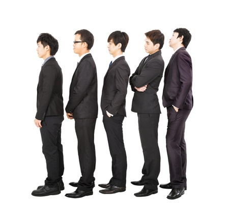 impatient:  business people standing in a line and waiting