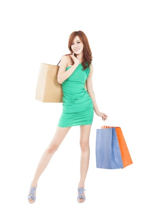 asian shopper: young slim woman with shopping bags