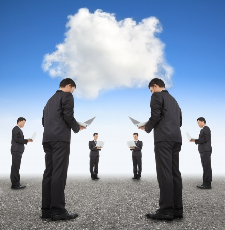 employee training: cooperation business and cloud computing concept