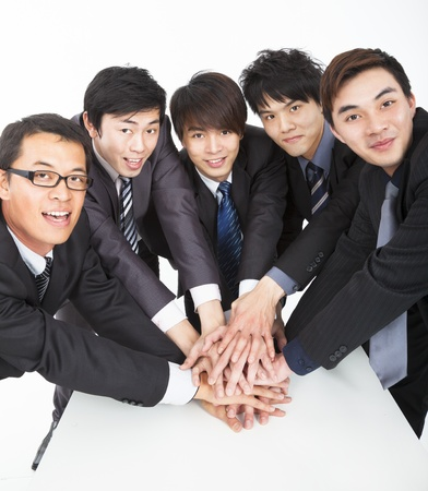 business team with hand together on the table  photo