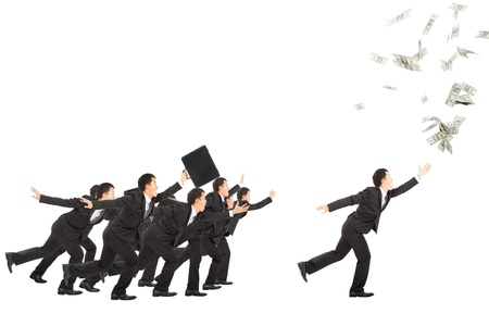 excited businessman running to the money photo