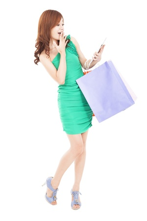 surprised young woman looking tablet pc and shopping on the internet photo