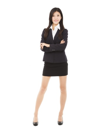 woman full body: full length beautiful businesswoman standing with isolated on white background