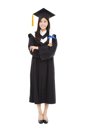 full length beautiful young graduation woman standing with isolated on white background photo