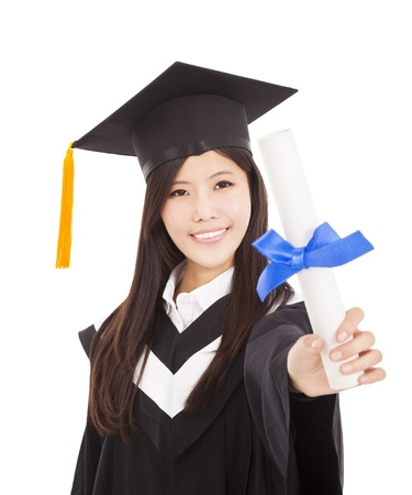 smiling Graduate woman Holding Degree Isolated On white Background photo