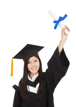 happy Graduate woman Holding Degree  photo