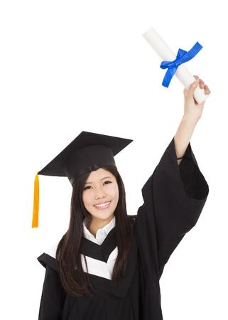 happy Graduate woman Holding Degree Stock Photo - 18311259